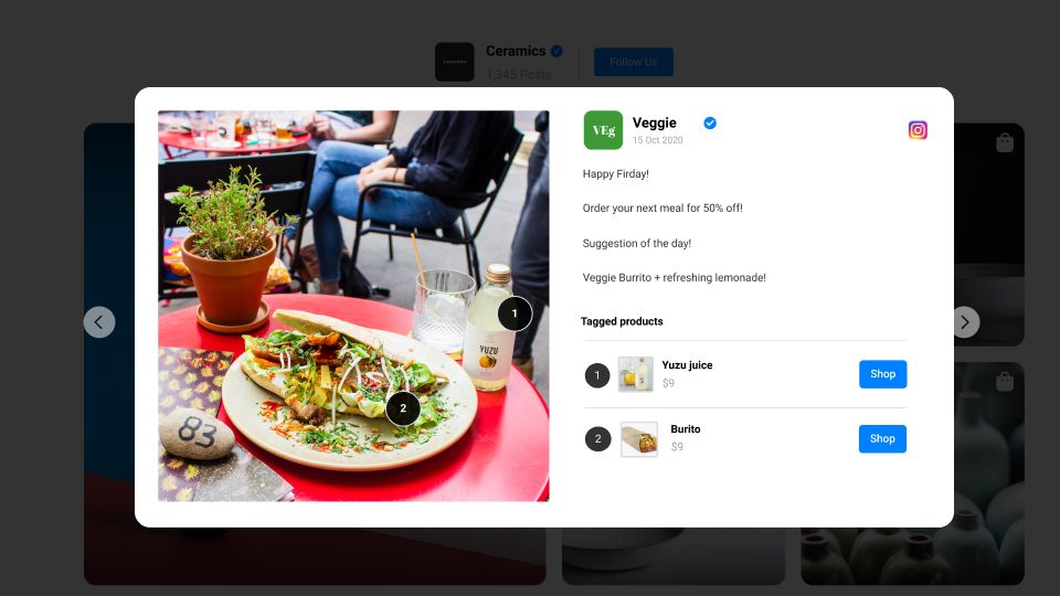 food example for shop my feed